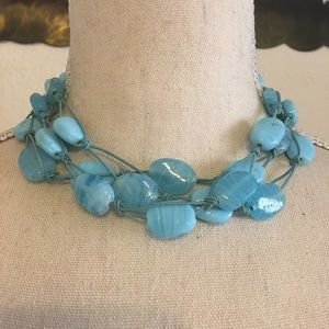 Vintage handmade blue glass braided necklace